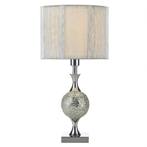 Elsa Table Lamp Silver Mosaic complete with Silver String Shade (Double Insulated) BXELS4239-17